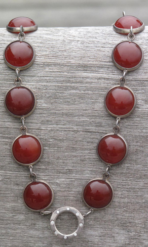 Diamonds and Carnelian Cabuchon Set