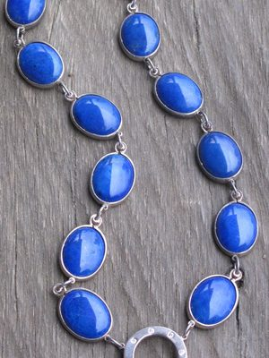 Diamonds and Lapis Lazuli Cabuchon Set