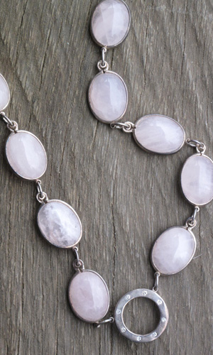 Diamonds and Rose Quartz Cabuchon Set