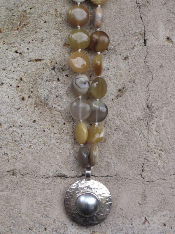 Yellow Agate & Pearl